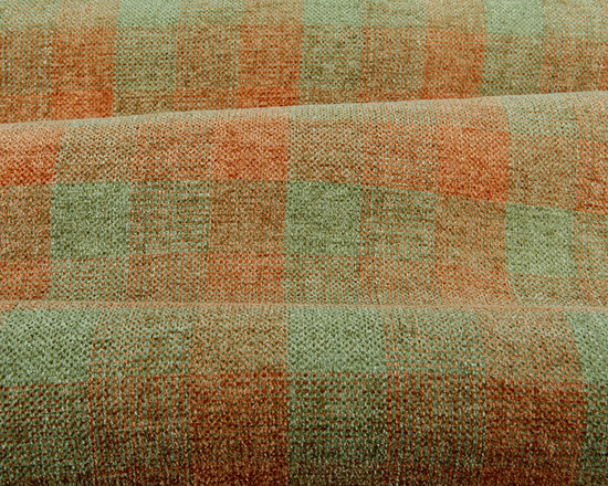 Obscura Plaid Chenille Upholstery in Spring - Obscura Plaid Chenille Upholstery in Spring Green & Orange. A soft handed fabric reminiscent of a country home with modern colors. Fun and cheery! Made in the USA with 60% rayon and 40% silk with a width of 56″. Cleaning Code S. Passes 30,000 double rubs on the Wyzenbeek Method abrasion test. Repeat: 6″ X 6″