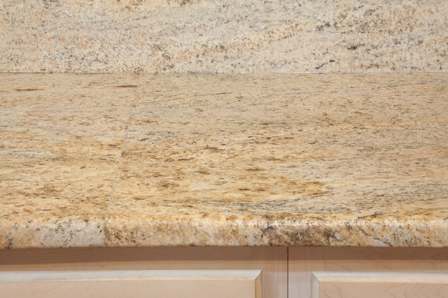 Gold Granite With White Cabinets Leathered Kashmir Gold Granite