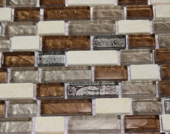"LEATHER BOOT BROWN BLEND BRICK PATTERN 1/2"" X 2"" MARBLE & GLASS TILE BRICK traditional-tile"