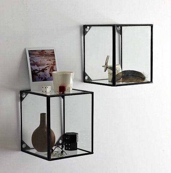 Wall Decor Glass Shelves : New glass metal display shelf modern and