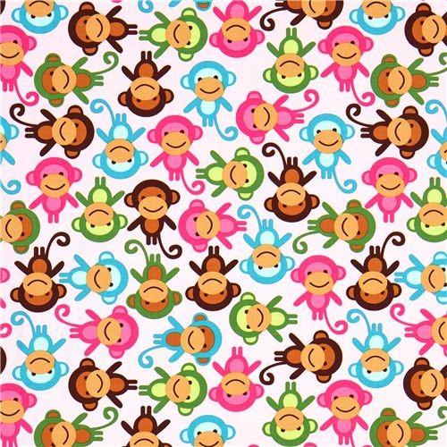pink fabric with colourful monkeys Robert Kaufman fabric