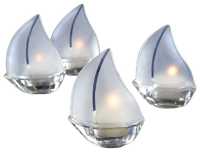 Frosted Glass Sailboat Tealight Candle Holders 3 5 Set