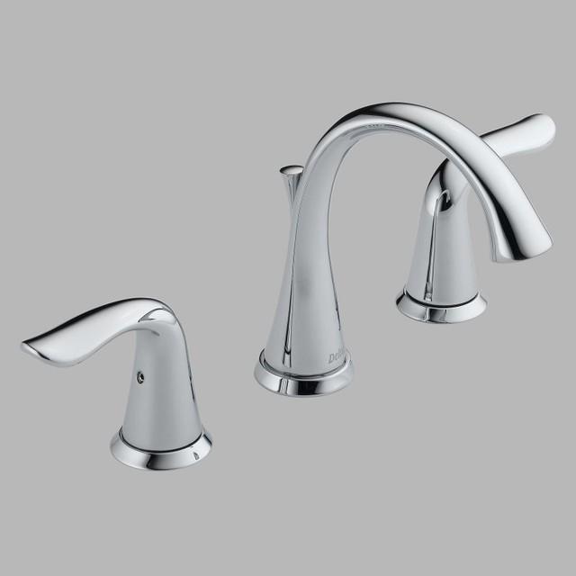 Delta lahara 3538lf double handle widespread bathroom sink - Delta contemporary bathroom faucets ...