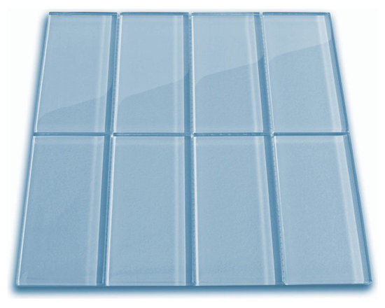 "Sky Blue Glass Subway Tile 3"" by 6"" - The Sky Blue Glass Subway Tile is made from the strongest stain-resistant crystal clear glass. These tiles have a 8mm thickness that increases their durability and the depth of their color making them truly beautiful subway tiles. These subway tiles can be used for commercial or residential construction in either a wet or dry environment."