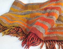 Pavo SF Ocean Stripe Orange Handwoven Wool Silk Throw contemporary-throws