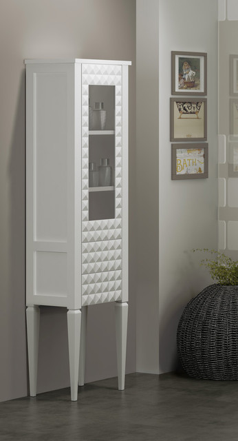 Macral Diamond 16 and 1/2 inches. Floor linen cabinet. White eclectic-bathroom-storage