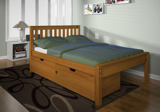Ares Honey Oak Mission Bed with Storage transitional-kids-beds