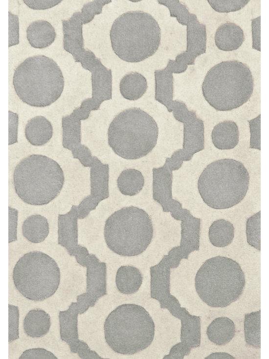 "Circle Fret Tufted Wool Rug, 2'6"" x 8' -"