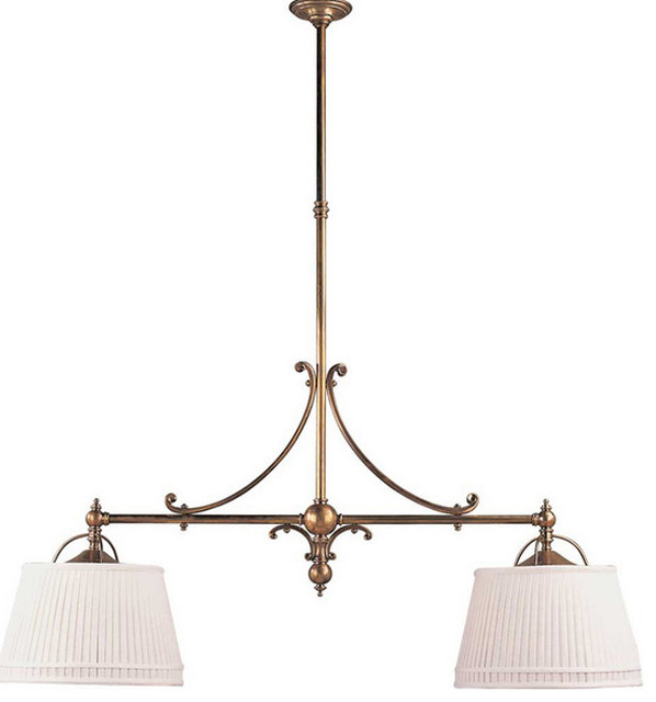 Double Sloane Street Shop Light With Linen Shades traditional-chandeliers