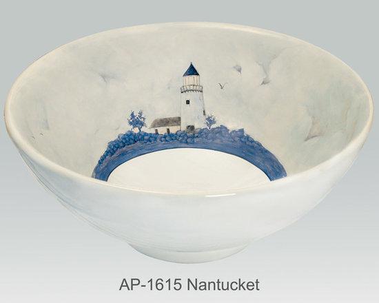 "Hand Painted Vessels Sinks by Atlantis - ""NANTUCKET"" Shown on AP-1615 La Fayette vessel sink O/D 15-3/4"" Dia x 6"" H center drain no overflow."