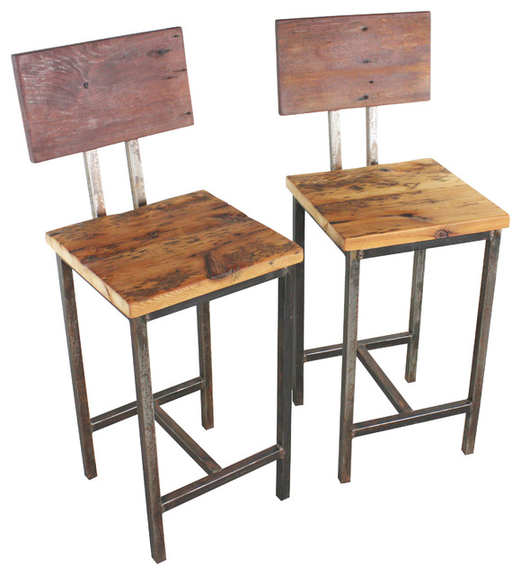 reclaimed wood bar stools set of 2 Industrial Bar  : industrial chairs from www.houzz.com size 580 x 640 jpeg 78kB