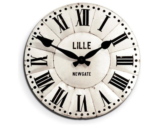 newgate - Lille Tin Wall Clock - Barn Light Electric - The Lille Clock is great representation of unique station clocks and designed to have an aged vintage appearance. Each number of this tin wall clock sits on its own domed segment displaying roman numerals for each hour.