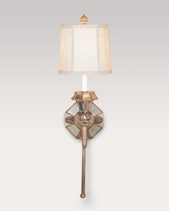 Mirrored Sconce with Linen Shade traditional-wall-sconces