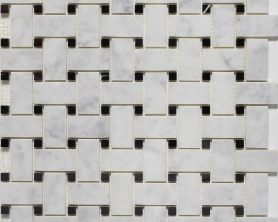 Basketweave Mosaic Tiles- Bianco Carrara with Black Dot - store.missionstonetile.com has low pricing, and Free Shipping on Basketweave Mosaic Tiles for your bathroom floor, shower floor, shower wall accent tile, kitchen backsplash, and more.