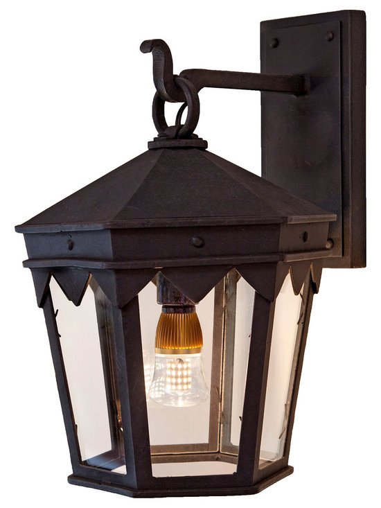 Forged Lighting Orena Lantern - Wrought Iron Exterior Arm Mount Fixture.  Please email info@forgedlighting.com to purchase.  Ships Nationwide.  Shown with Pearl 60 LED bulb (not included).