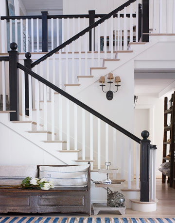 Stairs In White California  Beach House traditional