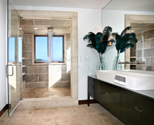 Antique Bathrooms Biblical Stone Floors & Walls traditional-showers