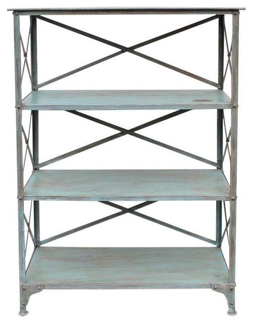 Pre-owned Vintage Light Blue Iron Rack - Industrial - Towel Racks & Stands - by Chairish