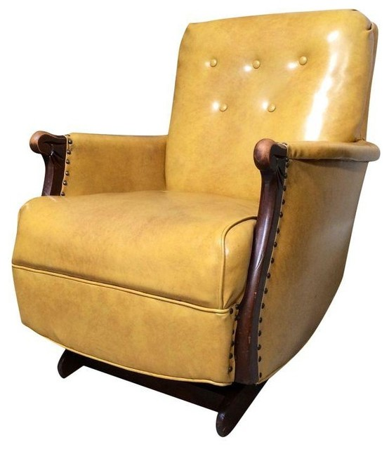 Pre Owned 1940s Yellow Vintage Leather Platform Rocker