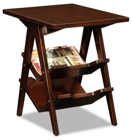 LEIck Chevron Rectangle Chocolate Cherry Wood Stacked Magazine End Table modern-side-tables-and-end-tables