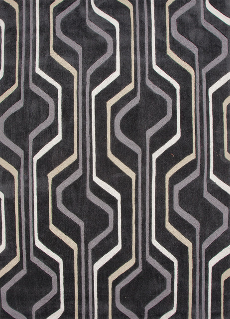Modern geometric pattern gray black polyester tufted rug for Geometric print area rugs