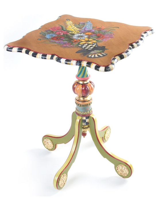 Blooming Tilt Top Table | MacKenzie-Childs - In use or tipped up, either way, a work of art from our artisans in Aurora featuring a hand-painted floral bouquet of summer flowers in a Courtly Check® vase and Courtly Check® banding on the table's edge. Hand carved mahogany is detailed with copper verdigris, gold leaf, and antiqued brass nailhead trim. The underside of the tabletop is covered in Chinoiserie-inspired wallpaper. Imported frame, hand decorated in Aurora.