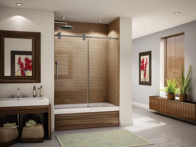 """Fleurco Kinetik In-Line Tub 57""""- 60"""" Door and Panel KT057 modern-bathroom-vanities-and-sink-consoles"""