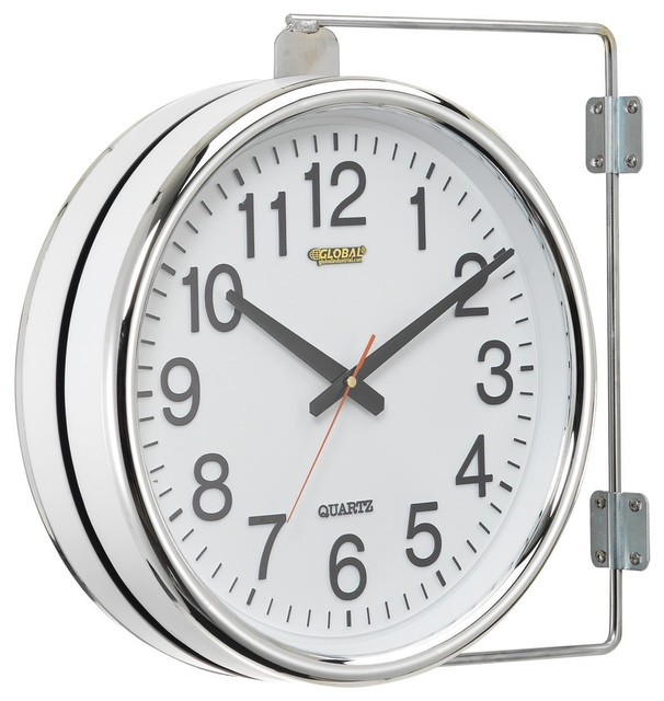 Wall Clock Double Sided Battery Operated Contemporary