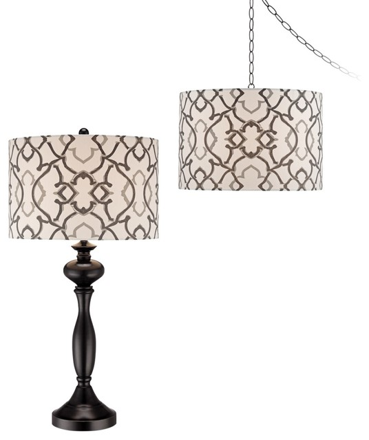 Contemporary Moroccan Medallion Plug-In Swag and Table Lamp Set of 2 contemporary table lamps