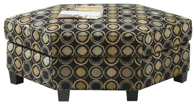 Maryland Rombic Ottoman by Emerald Home Furnishings in Powerball Black contemporary-footstools-and-ottomans