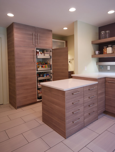 IKEA pull out pantry with peninsula. - Contemporary - Kitchen ...