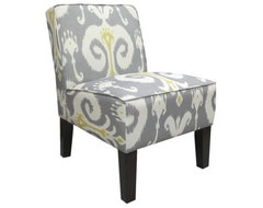 Armless Upholstered Slipper Accent Chair, Grey & Gold Ikat contemporary-chairs