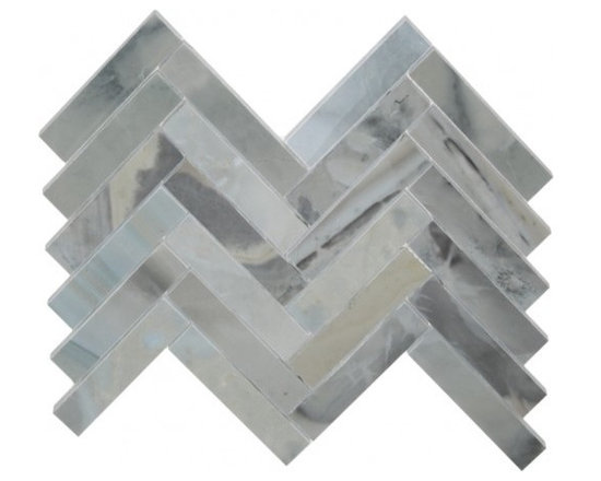 Ice Blue large herringbone stone mosaic tile - Ice blue large herringbone stone mosaic
