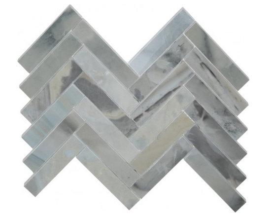 Ice Blue large herringbone stone mosaic tile - Ice blue large herringbone stone mosaic