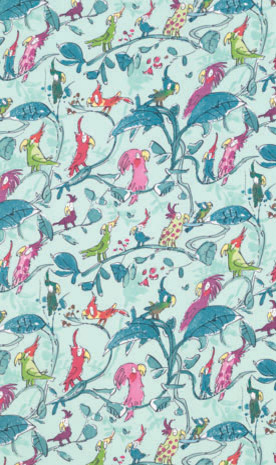 Zagazoo Cockatoos Fabric tropical upholstery fabric