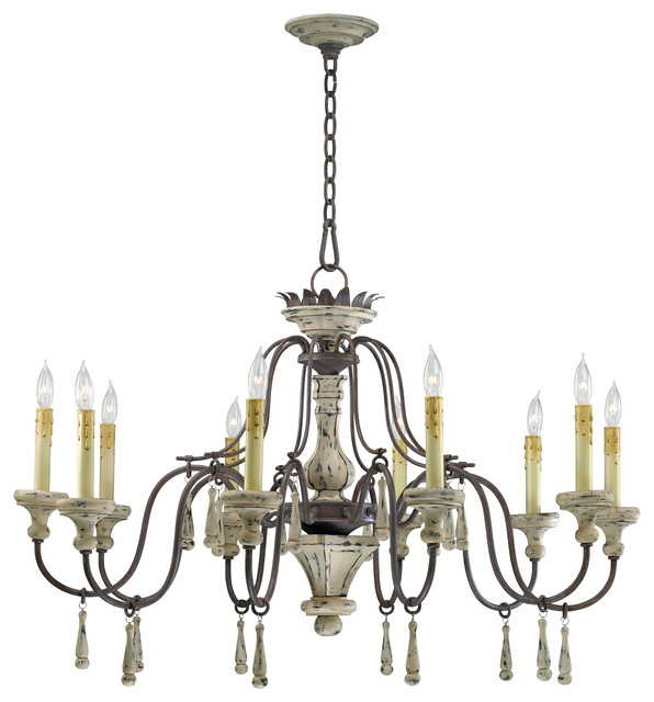 Provence French Country White and Gray Wash 10 Light