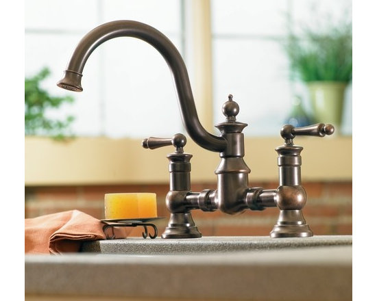 Moen Waterhill Oil rubbed bronze two-handle high arc kitchen faucet - The intricate charm of Waterhill® will instantly add character to your home. A range of products provide all the design features necessary to enrich your space.