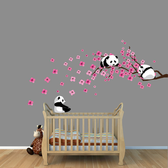 panda cherry tree wall decals by nursery decals and more panda bears playing nursery wall stickers