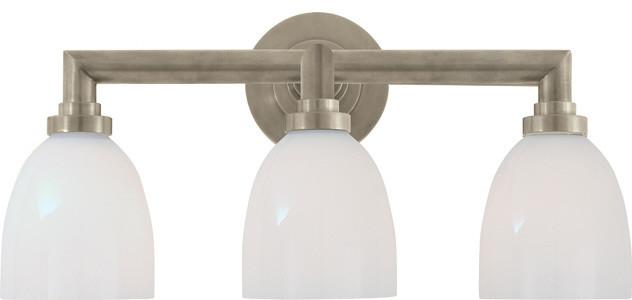 Wilton Triple Bath Light in Antique Nickel with White Glass contemporary-bathroom-vanity-lighting
