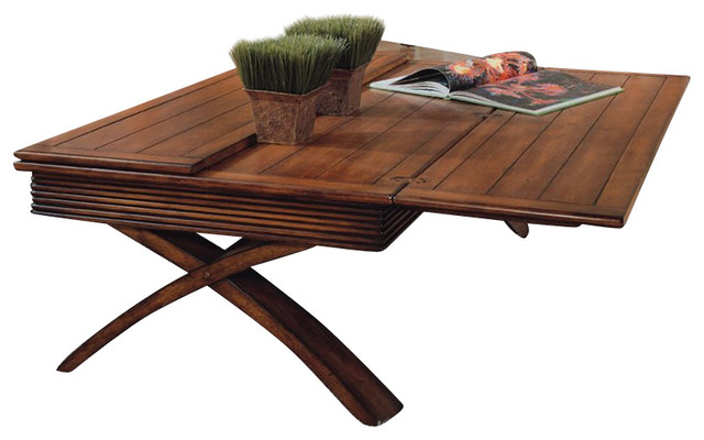 Magnussen Bali Tables Rectangular Wood Flip Top Cocktail Table In Warm Nutmeg Modern Coffee