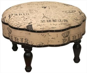 Vintage Look Paris Themed 30 Inch Diameter Ottoman Foot Stool contemporary-footstools-and-ottomans