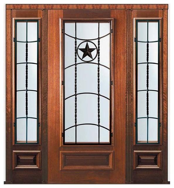 Prehung Side Lights Door 80 Wood Mahogany Texan Texas Star 3 4 Lite Eclectic Front Doors