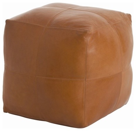Arteriors Amarillo Patchwork Leather/Linen Ottoman contemporary-footstools-and-ottomans