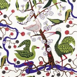 Green Birds Fabric by Josef Frank modern-upholstery-fabric