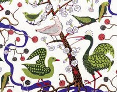Green Birds Fabric by Josef Frank modern upholstery fabric