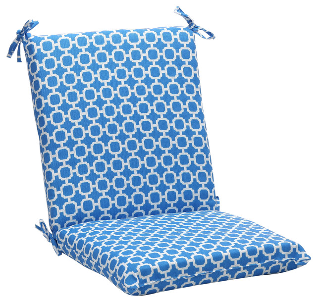 Pillow Perfect Blue White Geometric Squared Outdoor