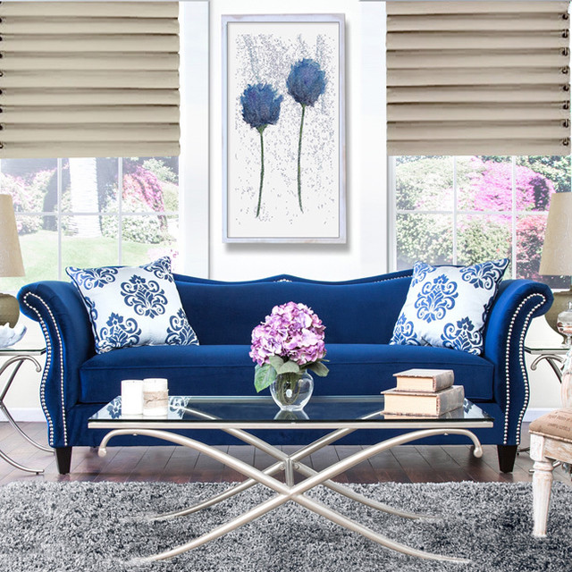 furniture of america othello royal blue sofa