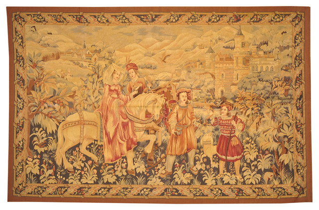 6' X 9' 100% Wool Tapestry Aubusson Hand Woven Flat Weave ...