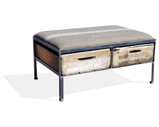 Vintage Crate Ottoman - 2 Drawer, Tan W/ White Stripe - These amazing handmade ottomans are made locally from vintage fruit crates, and are upholstered with different vintage fabrics. Each are unique and crate graphics may vary. They make a great addition to any room.