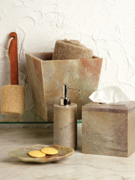 Bathroom Accessories - All of the items in the Belle and June bathroom accents collection are both functional and beautiful. With everything from tissue box covers to toothbrush holders to hand-painted wood wastebaskets and soap dishes, we've literally thought of everything you need to create an elegant bathroom.